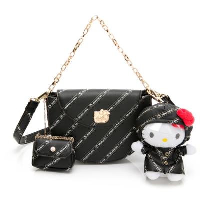 Hello Kitty聯名- 半月包附長短背帶 Trendy Master系列-黑色