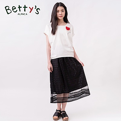 betty's貝蒂思 彈性腰圍蕾絲縷空中長裙(黑色)