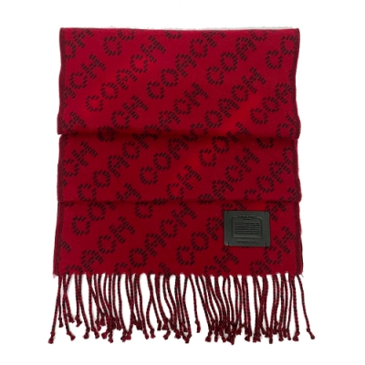 COACH 皮牌滿版LOGO100%羊毛圍巾(紅)