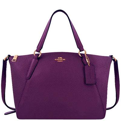 COACH 光澤皮革手提/斜背兩用包(小型/紫色)