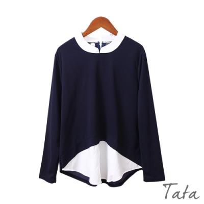假兩件拼接撞色上衣 TATA-(S~L)