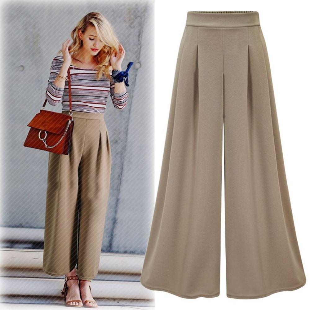 MOCO素色鬆緊腰打摺垂直感墬感闊腿褲寬鬆長褲