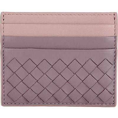 BOTTEGA VENETA 撞色小羊皮編織名片夾(粉紫色)