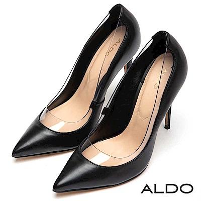 ALDO 原色真皮拼接流線透明墊片尖頭細高跟鞋~尊爵黑色