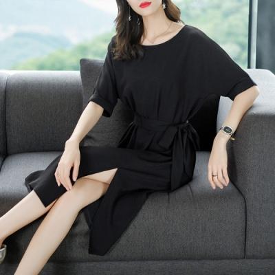 簡約休閒綁帶收腰修身洋裝M-2XL(共二色)-REKO