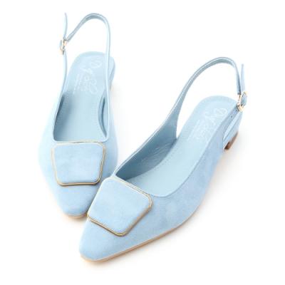 D+AF 粉彩氛圍.幾何釦飾後空低跟鞋*藍