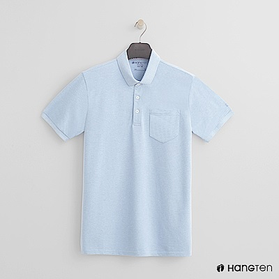 Hang Ten - 男裝 - 素面口袋POLO衫 - 淺藍