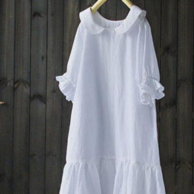 娃娃領天絲亞麻半袖中長版洋裝-設計所在