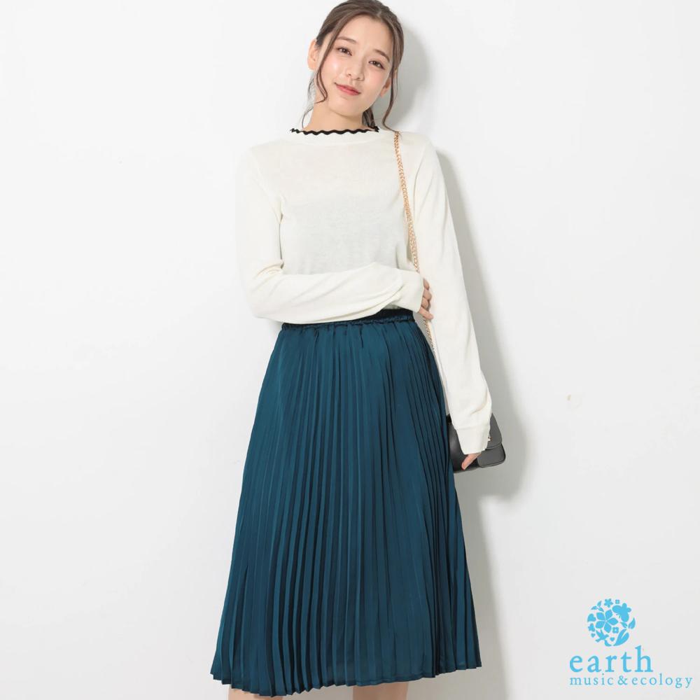 earth music 【SET ITEM】花邊領長袖針織上衣+雪紡百褶裙