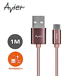 【Avier】Type C to USB-A 極速鋁合金編織充電傳輸線_