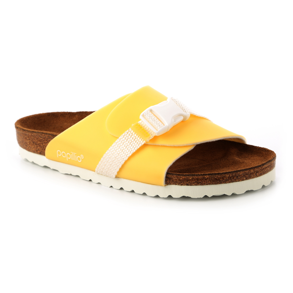 勃肯Papillio 1009196。CARRIE嘉莉 繫帶大面拖鞋(黃)