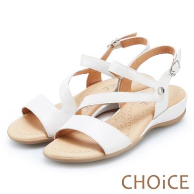 CHOiCE 細緻牛皮斜帶造型厚底涼鞋 白色