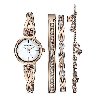 Anne Klein 絢漾迷情絕美腕錶 施華洛世奇美鑽手錶手鍊套組-白x22mm