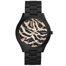 Michael Kors 氣質狂野豹紋晶鑽腕錶-玫瑰金X黑/42mm