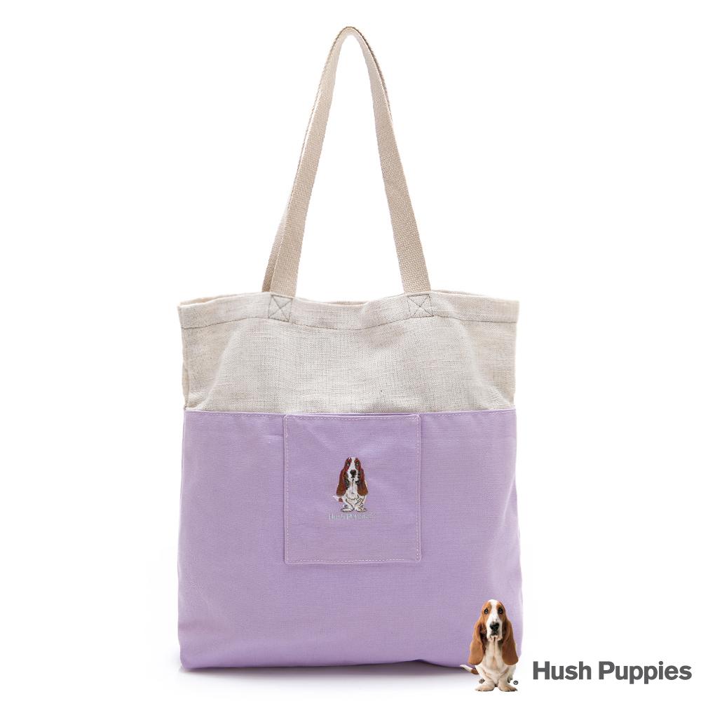 Hush Puppies 粉彩拼接帆布袋-紫色
