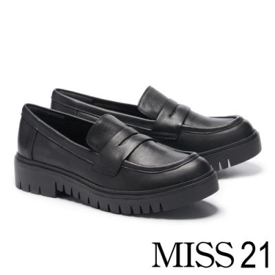 厚底鞋 MISS 21 率性復古真皮樂福厚底鞋-黑