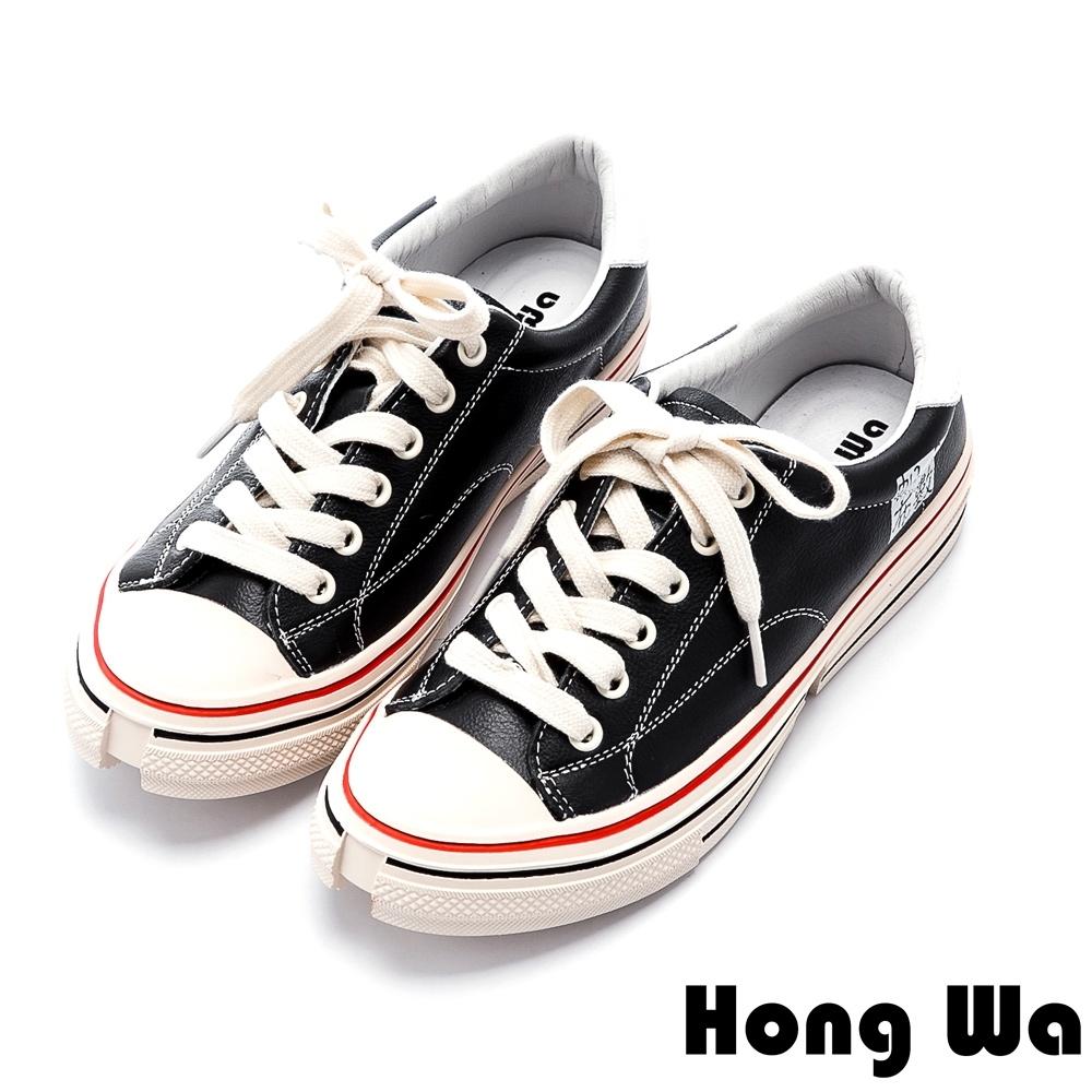 Hong Wa 極簡風格綁帶牛皮休閒鞋 - 黑