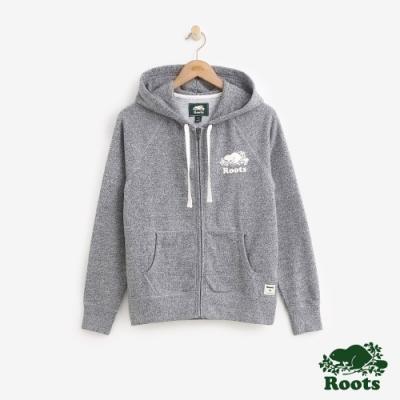 女裝Roots- 基本款庫柏海狸刷毛連帽外套-灰色