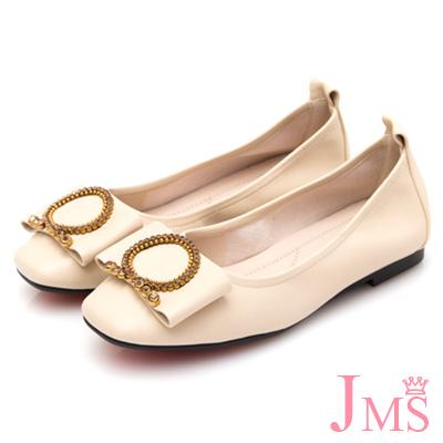 JMS-低調點點鑽飾大扣環平底娃娃鞋-米色