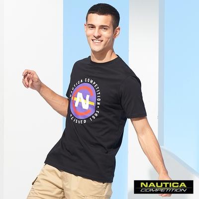 Nautica COMPETITION男裝跳色品牌LOGO短袖T恤-黑