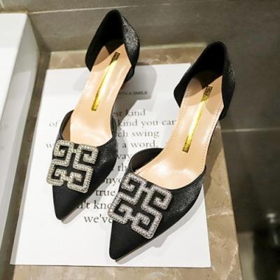 KEITH-WILL時尚鞋館 韓國設計時尚百搭水鑽細跟鞋-黑