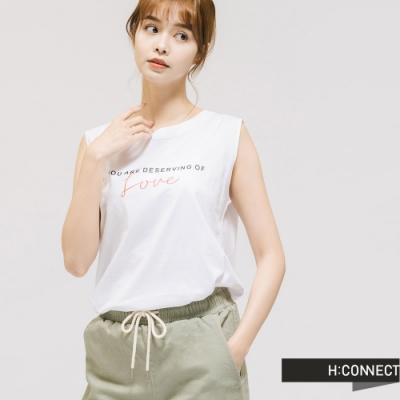 H:CONNECT 韓國品牌 女裝 -圓領素色標語背心 - 白