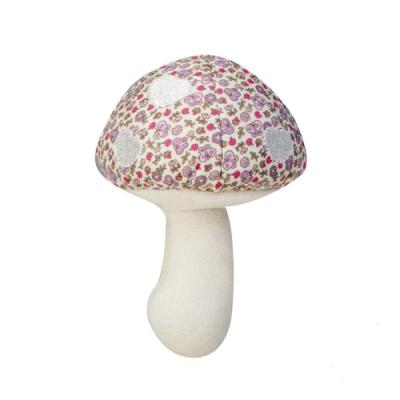 【美國 Apple Park】有機棉蘑菇搖鈴啃咬玩具 - 粉紫花園