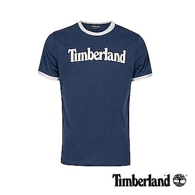Timberland 男款藍色品牌圖案短袖T袖|A1W19