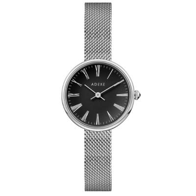ADEXE 英國手錶 MINI SISTINE羅馬刻度 黑錶盤x銀色錶框米蘭錶帶30mm