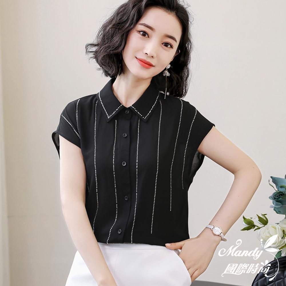 Mandy國際時尚 襯衫 氣質亮鑽條紋雪紡上衣_預購【韓國服飾】