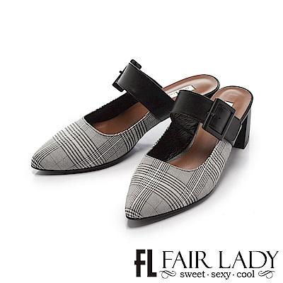 Fair Lady 優雅小姐 寬帶環扣粗跟穆勒鞋 黑格紋