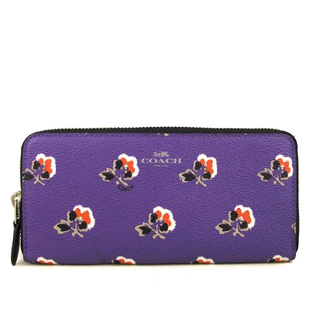 COACH 銀馬車Logo防潑水彩色小花ㄇ型拉鍊長夾(紫色)COACH