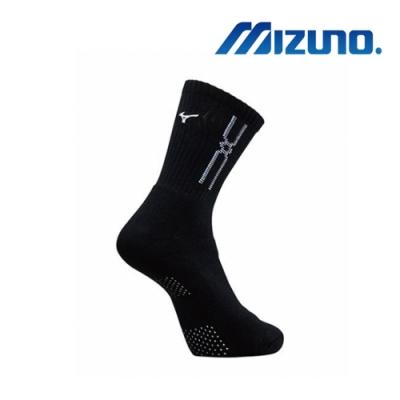 Mizuno美津濃 男運動厚底襪 (6雙入) 加大尺寸 黑x白 32TX90G991Q