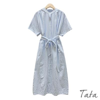 寬鬆直條紋排扣抓摺洋裝 TATA-F