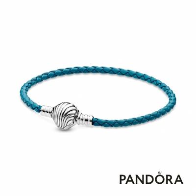 【Pandora官方直營】Pandora Moments 海貝飾扣綠松色編織皮繩