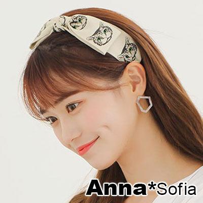 AnnaSofia 復古貓頭緞帶結 韓式寬髮箍(綠眼系) @ Y!購物