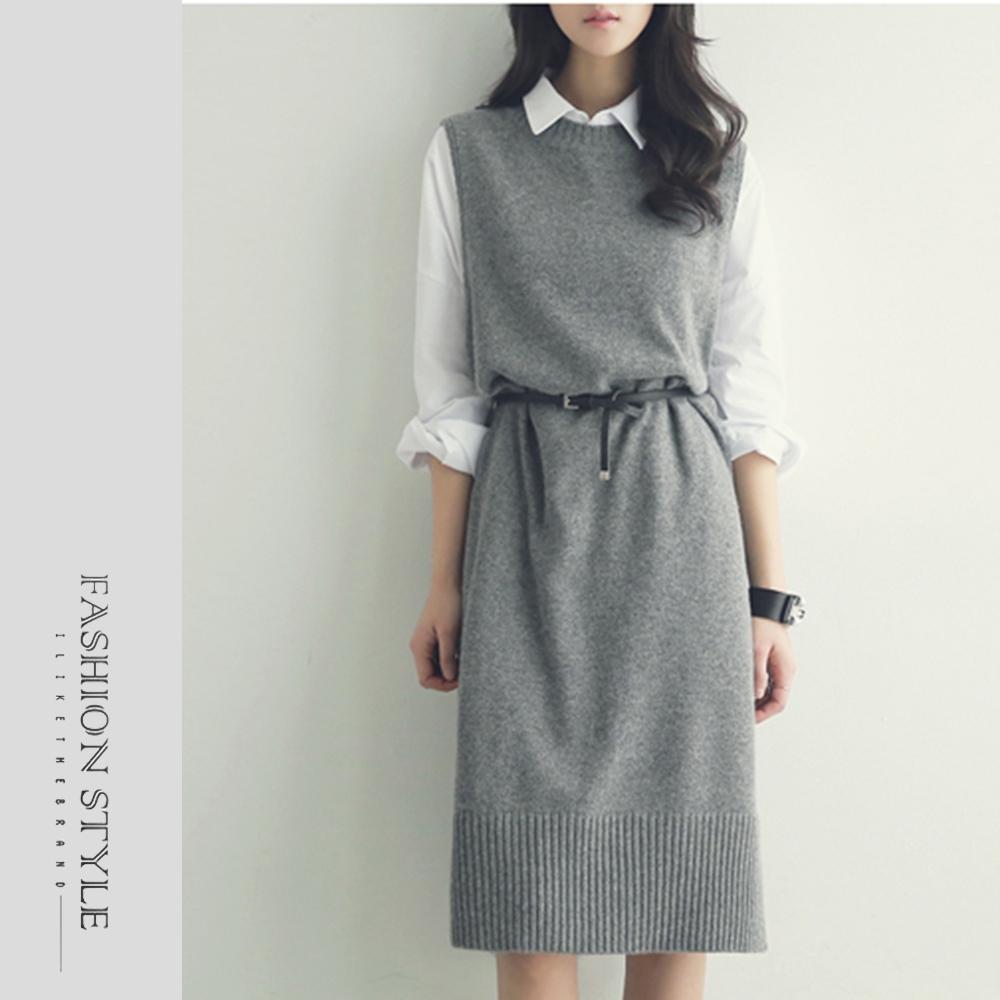 2F韓衣-簡約百搭圓領針織背心裙-2色(S-XL)