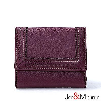 J&M 真皮克萊爾法式優雅三折短夾  羅蘭紫
