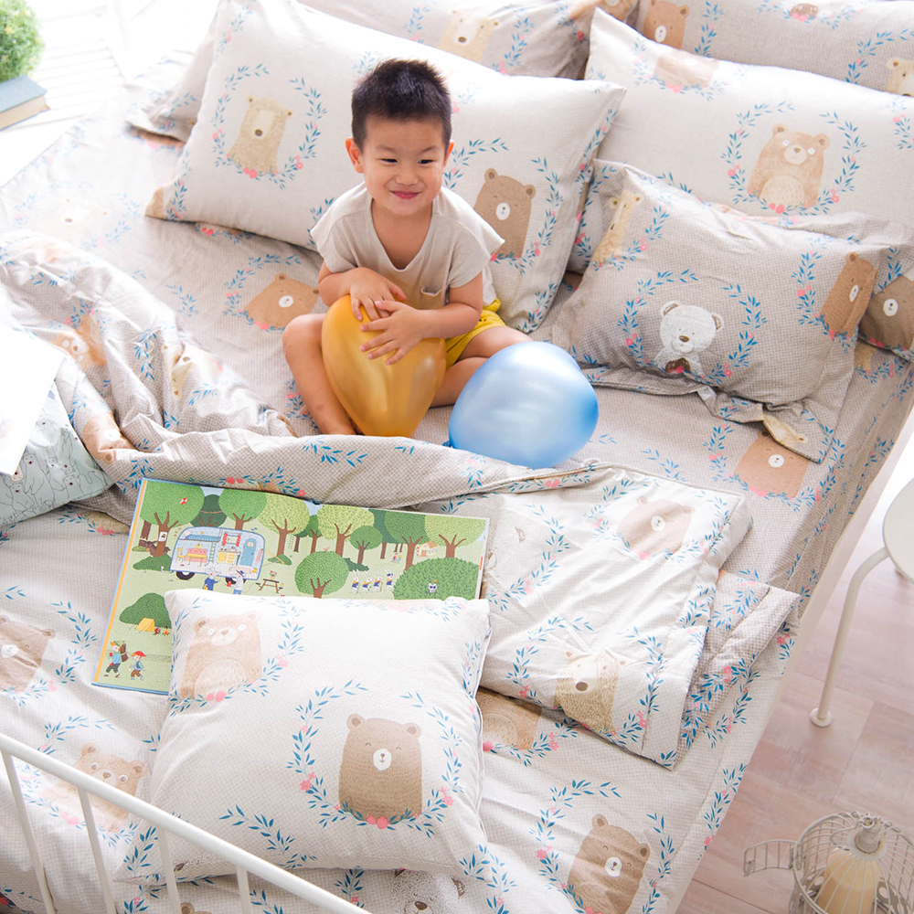 OLIVIA 好多好多熊 雙人全鋪棉床包冬夏兩用被套四件組 歐式枕套 200織精梳純棉 台灣製