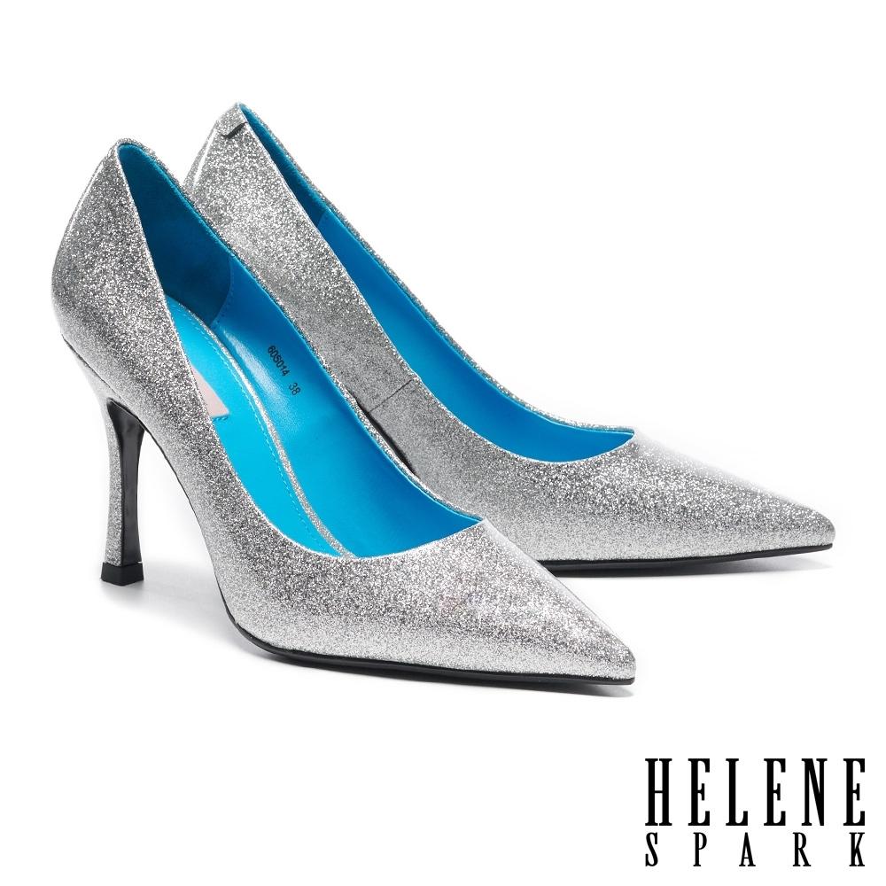 高跟鞋 HELENE SPARK 華麗閃耀金蔥全真皮尖頭美型高跟鞋-銀