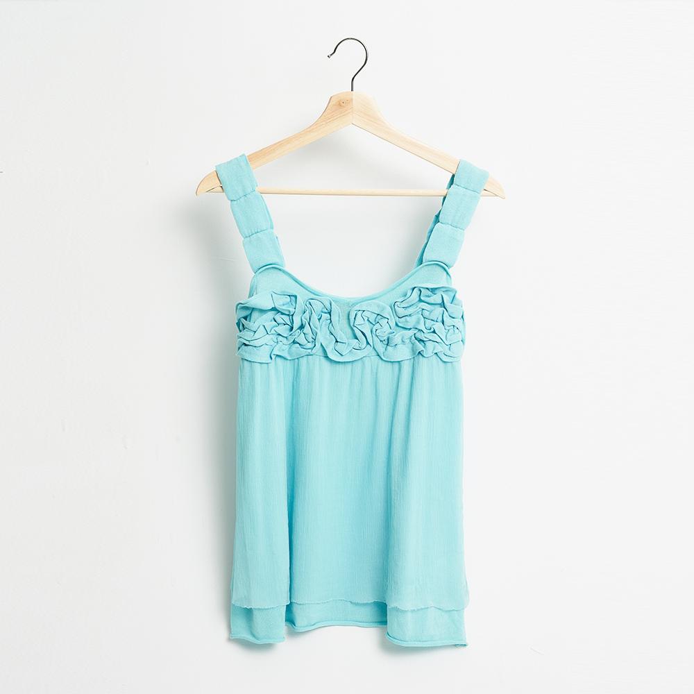 ICHE 衣哲 微甜薄荷綠立體花紡紗造型背心上衣