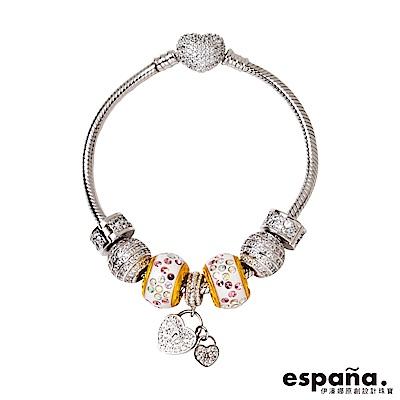 ESPANA伊潘娜 獨堅定的心黃金/純銀/琺瑯串珠手鍊