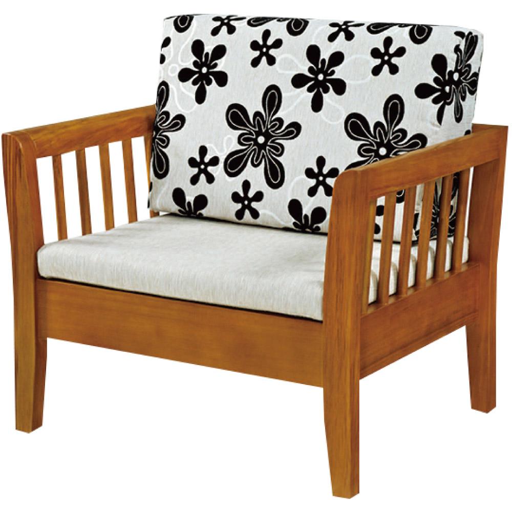 綠活居 麥尼典雅風亞麻布實木單人座沙發椅-90x77x68cm免組