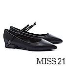 低跟鞋 MISS 21 簡約質感蝴蝶結繫帶羊皮尖頭低跟鞋-黑