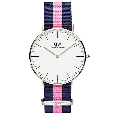 DW 手錶 36mm銀框 Classic 活潑藍粉織紋錶