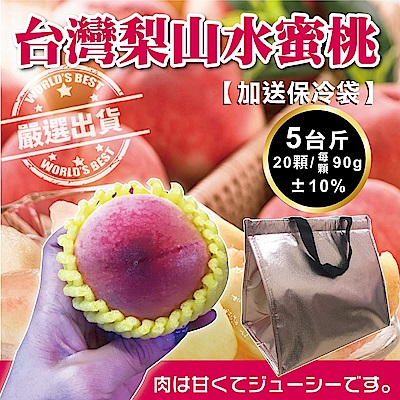 【天天果園】台灣梨山水蜜桃 x5台斤(20顆) 加碼送保冷袋