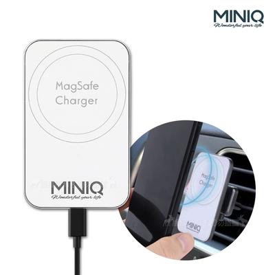 MINIQ MagSafe 15W輕薄快充板 強力磁吸無線充電器 車載居家兩用 附車用磁吸夾