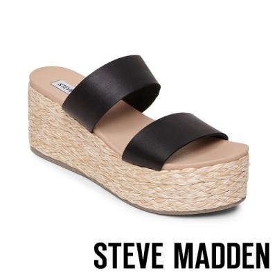 STEVE MADDEN-JOLTED 側邊鬆緊雙粗帶楔型拖鞋-黑色