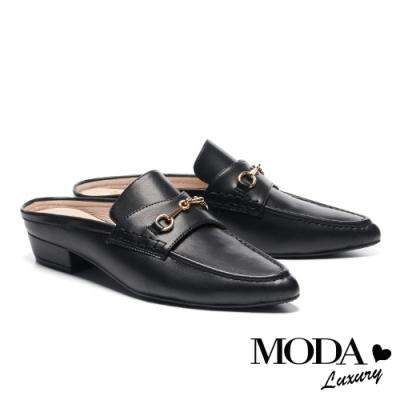 拖鞋 MODA Luxury 復古時尚馬銜釦穆勒尖頭低跟拖鞋-黑