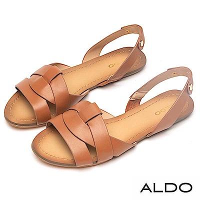 ALDO 原色羊皮鞋面鏤空拉帶式涼鞋~都會焦糖